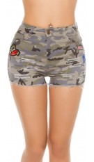 Sexy Camouflage Jeans Shorts with Patches Army