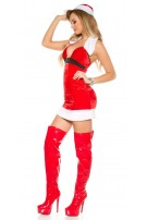 Sexy X-MAS OUTFIT w.hat, thong &removable fake fur Red