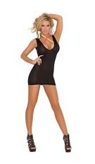 Dress with neon criss-cross straps Black