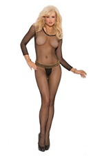 Fishnet Long-Sleeved-Bodystocking Black