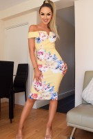 Nikita Floral Bardot Dress Yellow