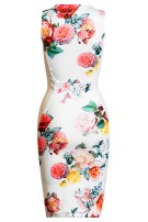 Delia Floral Panel Dress Ivory