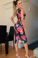 Alisha Floral Bodycon Dress Black