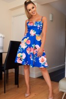 Ahara Floral Skater Dress Royal blue