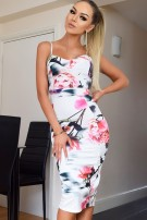 Harper Floral Panel Dress Ivory