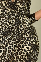 Andrea Leopard Crinkle Front Wrap Dress Brown