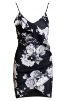 Kylie Frill Wrap Dress Black