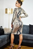 Kim Printed Scuba Dress Beige