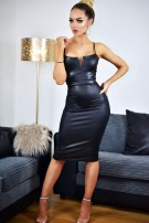 Nushka PU V Plunge Neck Bodycon Dress Black