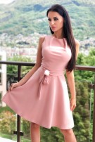 Mabel Ruched Skater Dress Dusty Pink
