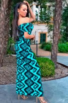 Amelia Aztec Crepe Maxi Dress Mint