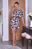 Portia Leopard Wrap Batwing Dress Beige