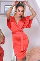 Elona Soft Satin Belted Batwing Dress Red