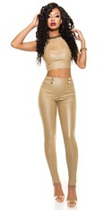 Sexy High Waist leatherlook-Pants Beige