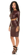 Sexy Wetlook pencil skirt with zip Bordeaux