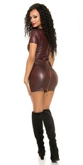 Sexy Wetlook Mini dress with 2 Way Zip Bordeaux