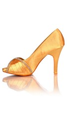 Satin Evening Shoes / Pumps Gold