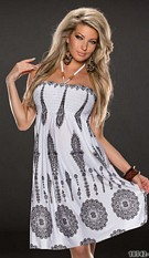 Halter-Dress White / Black