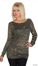 Long-Sleeved-Minidress Dark olive