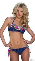 Halter-Bikini Donkerblauw / Roze