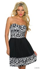 Strapless Minidress Black / White