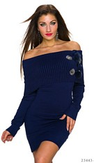 Long-Sleeved-Minidress Dark Blue