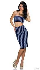 Top + Skirt dark Blue / White