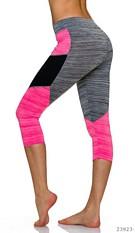 3/4-leggings Grijs / Neon-Rosa