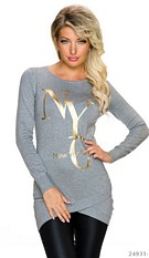 Long-Sleeved-Minidress Gray