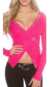 Sexy KouCla wrap look jumper with rhinestones Fuchsia
