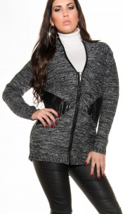 Trendy chunky knit cardigan + zip +leather look Navy
