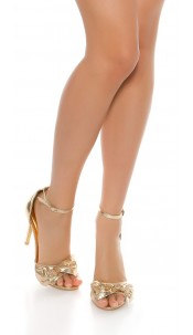 Sexy High Heel Ankle Strap Sandal Gold