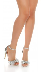 Sexy High Heel Ankle Strap Sandal Silver