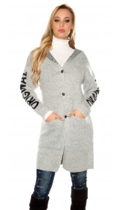 "Trendy Hooded cardigan ""ORIGINAL"" w. lacing Lightgrey"