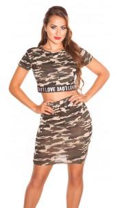 "Trendy Camouflage SET Crop Shirt & Skirt ""LOVE"" Army"