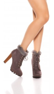 Trendy ankle boots with fake fur Grey