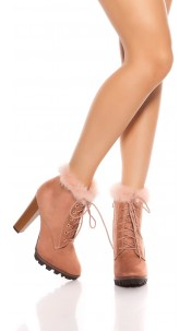 Trendy ankle boots with fake fur Pink