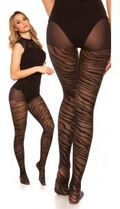 Sexy tights in zebra look Black