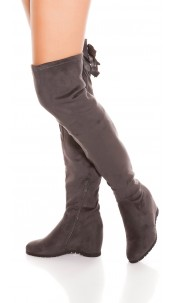 Trendy Overknees wedge boots with bow Grey
