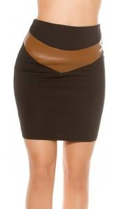 Sexy Waist Mini Skirt Leatherlook Blackbrown