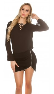 Sexy blouse with laced neckline Black