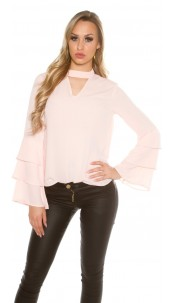 Elegant blouse with flounced sleeves Salmon