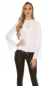 elegant blouse with embroidery White