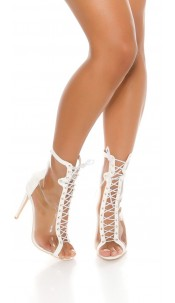 Sexy Peeptoe Ankle Boot White