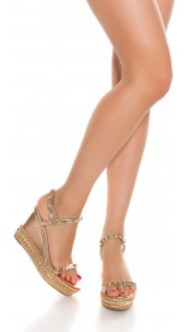 Sexy wedge heel sandal with studs Rose