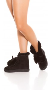 Trendy winter boots lined with ears Black
