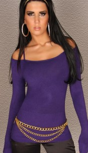 Sexy Sweater shoulderfree with Straps Violet