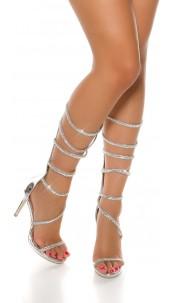 Sexy High Heel in Roman sandal look Silver