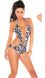 Sexy Monokini with )(-Buckles Zebra