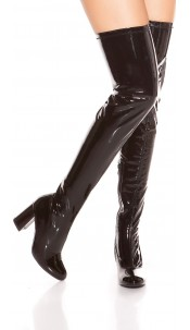 Sexy block heel overknee boots varnish look Black